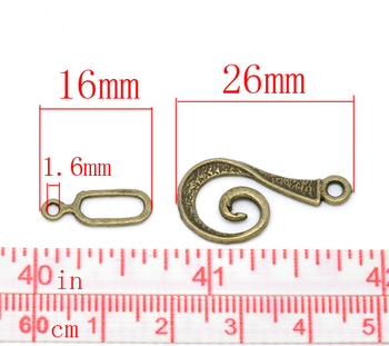 DoreenBeads 30 Ayarlar 26x12mm Sesi Girdap Toggle Tokalar,16x6mm (B14515), Shanghai Bronz